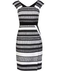 Karen Millen Black And White Tweed Pencil Dress - Lyst