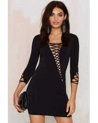 Nasty Gal | Margaux Lace-up Bodycon Dress | Lyst