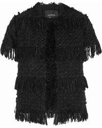 Lanvin Fringed Woolblend Tweed Jacket - Lyst