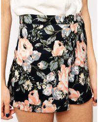 Asos Dark Floral Printed Scuba Short - Lyst