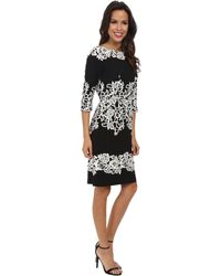 Adrianna Papell Fitted Placed Printed Lace - Lyst