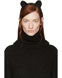 Fleet Ilya - Black Leather Cat Ear Headband - Lyst