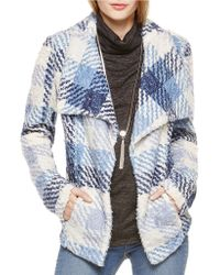 Two By Vince Camuto - Draped Plaid Sherpa Jacket - Lyst