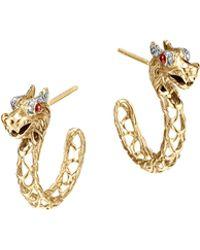 John Hardy Batu Naga 18K Gold Medium Dragon Hoop Earrings - Lyst