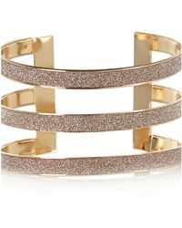 River Island Gold Tone Glitter Triple Arm Cuff - Lyst