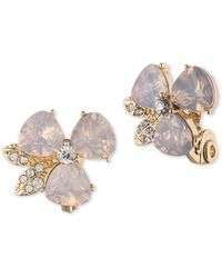 Anne Klein - Pink Flower Clip-on Earrings - Lyst