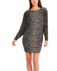 Yigal Azrouël Impasto Printed Jersey Dress In Chestnut/Everglade gray - Lyst