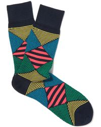 Smythson - Navy Mixed Design Socks - Lyst