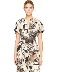 Donna Karan New York Rolled Sleeve Cropped Knot Shirt With Blouson Back - Lyst