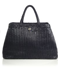 Tory Burch Robinson Woven Convertible Tote blue - Lyst