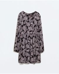 Zara Purple Paisley Dress - Lyst