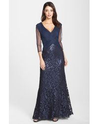 Tadashi Shoji Sequin Lace Gown - Lyst