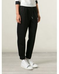 Nanushka - Leather Trim Quilted Track Pants - Lyst