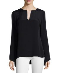 Ramy Brook | Cole Long-Sleeve Split-Neck Blouse | Lyst