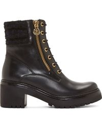 Moncler Black Leather Lace_up Vivianne Boots - Lyst