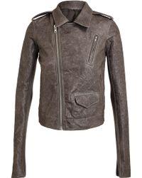 Rick Owens Washed Leather Biker Jacket - Lyst