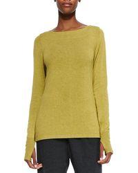 Eileen Fisher Glovette-sleeve Stretch Knit Top - Lyst