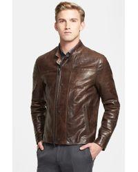 John Varvatos Extra Trim Fit Leather Moto Jacket - Lyst