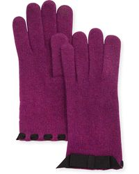 Portolano Cashmere-Blend Ribbon-Trimmed Tech Knit Gloves - Lyst