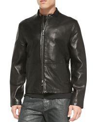 John Varvatos Lacestitched Leather Jacket - Lyst