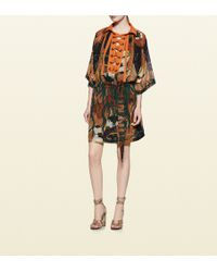 Gucci Fantasy Print Silk Lace-up Gown - Lyst