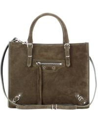 Balenciaga Mini Papier A4 Zip Around Suede Shoulder Bag - Lyst