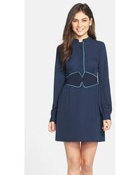 Cynthia Steffe 'Ashley' Contrast Trim Georgette Shirtdress blue - Lyst