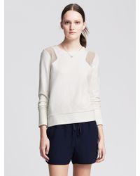 Banana Republic Mesh Inset Sweatshirt - Lyst