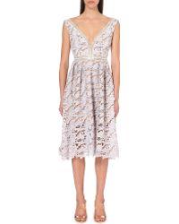 Self Portrait Off-The-Shoulder Lace Midi Dress - For Women - Lyst