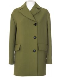 Marni Green Crepe Wool Coat green - Lyst