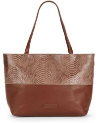 Saks Fifth Avenue Two-Textured Faux Leather Tote - Lyst