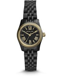 Michael Kors Petite Black Stainless Steel Lexington Threehand Watch - Lyst