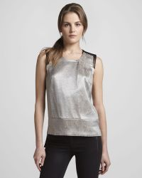 J Brand Geena Metallic Snake-print Top - Lyst