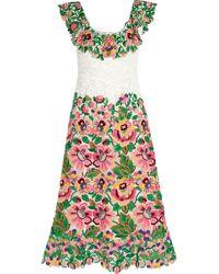 Valentino Tiered Floral Print Dress - Lyst