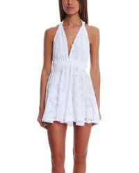 Loveshackfancy Vintage Lace Halter Mini Dress - Lyst