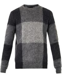 Alexander McQueen Mohair Check Intarsia Sweater - Lyst