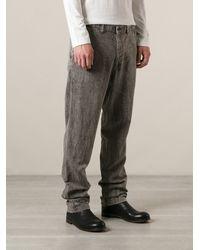 Issey Miyake Creased Straight Leg Jeans - Lyst