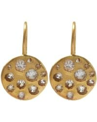 Polly Wales | Gold Crystal Disc White Sapphire Hook Earrings | Lyst
