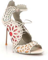 Sophia Webster Keira Lace-up Leather Doily Sandals - Lyst