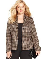 Jones New York Collection Plus Size Houndstoothprint Jacket - Lyst
