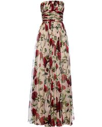 Dolce & Gabbana Rose-Print Silk-Chiffon Gown - Lyst