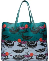 Yarnz - Teal Waves and Sun Print Leather Bag - Lyst