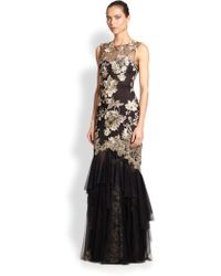 Notte by Marchesa Floral Embroidered Gown - Lyst