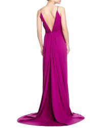 Badgley Mischka Collection Sleeveless Pleated-Back Gown - Lyst