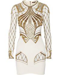 Sass & Bide The Royal One Embellished Mesh-paneled Stretch-silk Mini Dress - Lyst