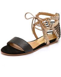 Dolce Vita - Ashtyn Flat Sandals - Black/gold - Lyst