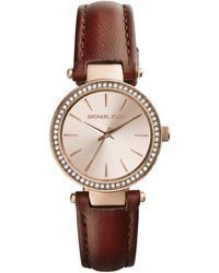 Michael Kors Mini Tan Leather Darci Threehand Glitz Watch - Lyst