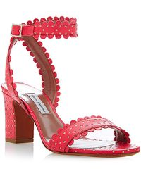 Tabitha Simmons Leticia Perforated-Leather Sandals In Coral red - Lyst