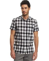 Kenneth Cole Reaction Buff Checked Zip-Pocket Shirt - Lyst