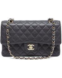 Chanel Preowned Black Caviar Medium Double Flap Bag - Lyst